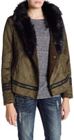 Miss Me Faux Suede Jacket with Faux Fur Collar