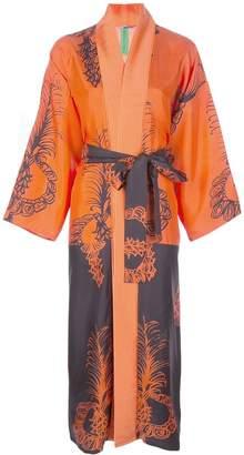 Rianna + Nina graphic-print silk kimono dress
