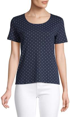 Karen Scott Petite Dot-Print Cotton Blend Top