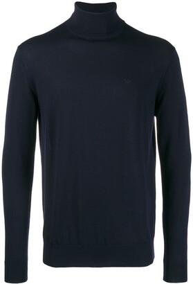 Emporio Armani embroidered logo turtleneck sweater