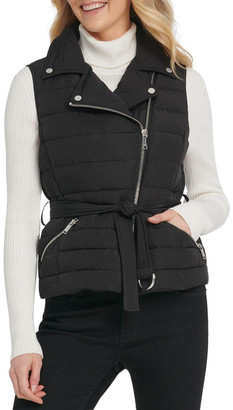 DKNY Asym Zip Puffer Vest W/ Belt