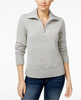 Karen Scott Marled Zip-Neck Sweater, Only at Macy's