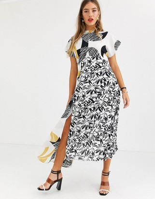 Asos Design DESIGN Copenhagen high neck mixed print maxi dress-Multi