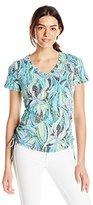 Caribbean Joe Women's Best Selling Dot Print Cotton Spandex Short Sleeve V Neck Side Ruched Tee Shirt
