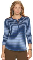 Chaps Plus Size Striped Faux-Suede-Trim Henley