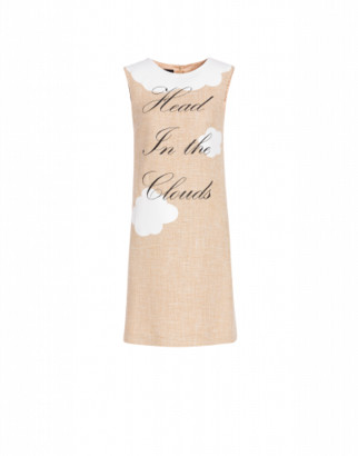 Boutique Moschino Head In The Clouds Mat Dress Woman Beige Size 38 It - (4 Us)