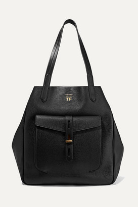 Tom Ford T Medium Textured-leather Tote - Black