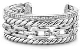 David Yurman Wellesley Link Pave Diamonds& Sterling Silver Cuff