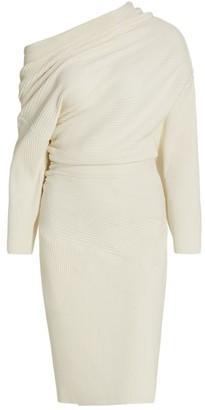 Proenza Schouler Chunky Rib Long-Sleeve Bunched Midi Dress
