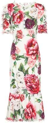 Dolce & Gabbana Embellished stretch silk dress