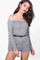 boohoo Petite Naomi Gingham Ruffle Sleeve Playsuit multi