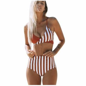 kolila Womens Two Piece Bikini Swimsuits Bandeau Bathing Suits Sexy Halter Padded Push Up Bikini Set Swimwear Bathing Suit (Orange L)