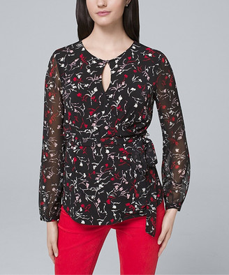 White House Black Market Women's Blouses Black - Black & Roman Red Tie-Waist Long-Sleeve Top - Women & Juniors