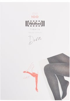 Wolford Dora Glitter-stripe 100-denier Tights - Womens - Black Silver