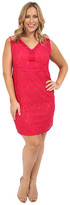 Sangria Plus Size V-Neck Contrast Lace Sheath