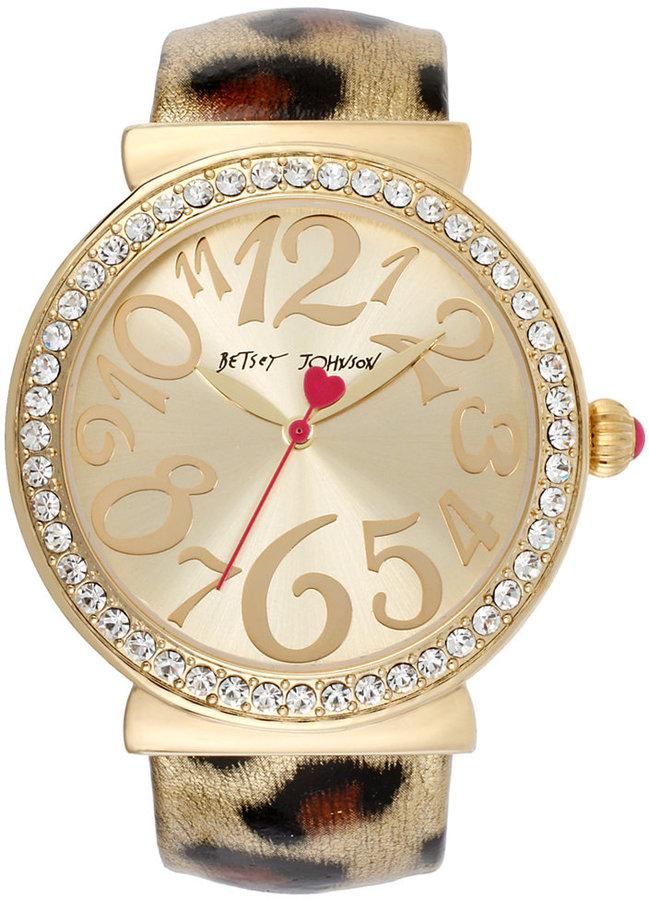 Betsey Johnson Watch, Women's Metallic Leopard Print Cuff Bracelet 42mm BJ00254-01
