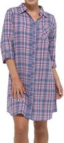 Primo Nightwear Gorgeous Womens Blue and Pink large Size 16-18 100% Cotton Full Button Front Flannel Check Nightshirt Nightdress