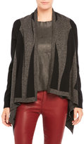 Qi Color Block Draped Cashmere Cardigan