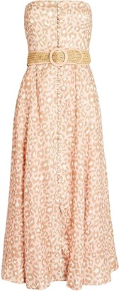 Zimmermann Carnaby Leopard Strapless Midi Dress