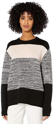 Jason Wu Long Sleeve Crew Neck Sweater (Black/Blush/Eggshell) Women's Clothing