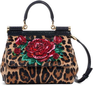 Dolce & Gabbana Small Miss Sicily Genuine Calf Hair & Snakeskin Satchel