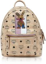 MCM Mini Beige Rabbit Visetos Stark Backpack