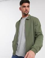 Asos Design DESIGN jersey harrington jacket in khaki