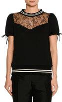 No.21 No. 21 Short-Sleeve Lace-Neck Cotton Sweatshirt