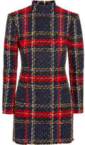Balmain Tartan Tweed Mini Dress - Red