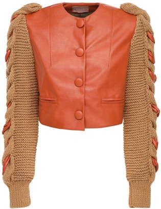 LIYA Faux Leather Jacket W/ Knit Puff Sleeves
