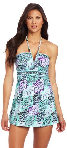 Jantzen Women's Mosaic Plumes Halter Swim Dress