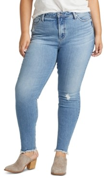 Silver Jeans Co. Trendy Plus Size High Note Ripped Skinny Jeans