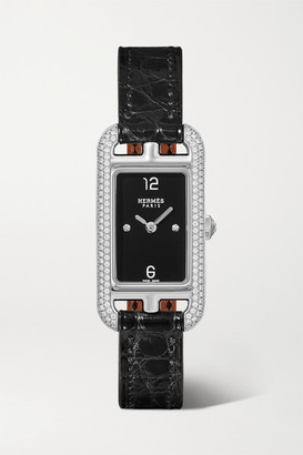 HERMÈS TIMEPIECES Nantucket 17mm Very Small Stainless Steel, Alligator And Diamond Watch - Silver