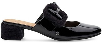 UGG Hayden Faux Fur Patent Leather Mary Jane Mules
