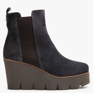 Alpe Alpaca Navy Suede Wedge Ankle Boots