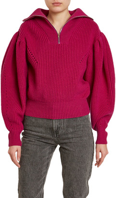Isabel Marant Kuma Chunky-Wool Puff-Shoulder Sweater