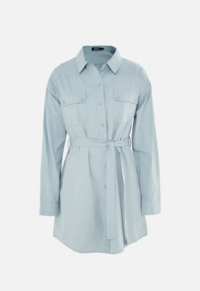 Missguided Blue Utility Pocket Self Belt Shirt Dress