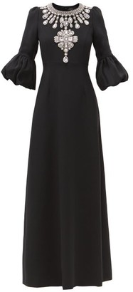 Andrew Gn Crystal-embellished Crepe Gown - Black