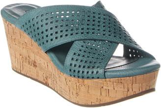 Chocolat Blu Wamblee Leather Wedge Sandal