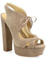 Schutz Jorie Suede Peep Toe Platform Slingback Sandals