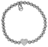Michael Kors Pave Heart Bead Bracelet, Silver Color