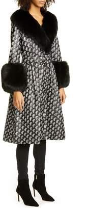 Saks Potts Foxy Monogram Leather Coat with Genuine Fox Fur Trim