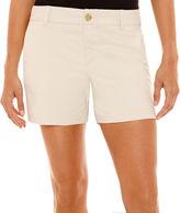 Liz Claiborne Mid-Rise Twill Shorts - Tall