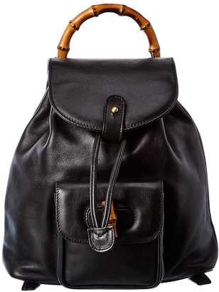 Gucci Black Leather Mini Bamboo Backpack