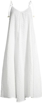 Solid And Striped Embroidered Voile Tie Strap Cover-Up Dress