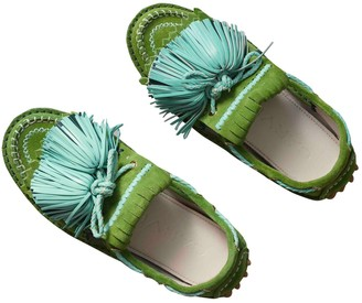 Carven Green Suede Flats