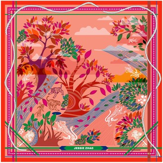 Jessie Zhao New York Silk Scarf In Red with Animals
