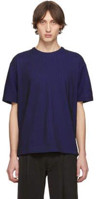 Issey Miyake Blue and Black Tucked Stripe T-Shirt
