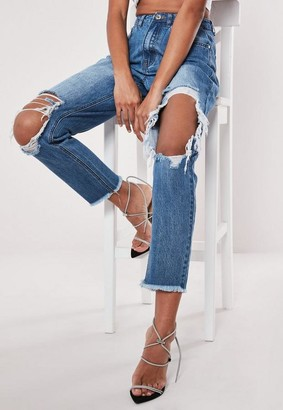Missguided Petite Blue High Rise Open Ripped Knee Mom Jeans