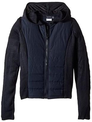Nautica Quilted Hoodie Sweater (Big Kids) (Su Navy) Girl's Sweater